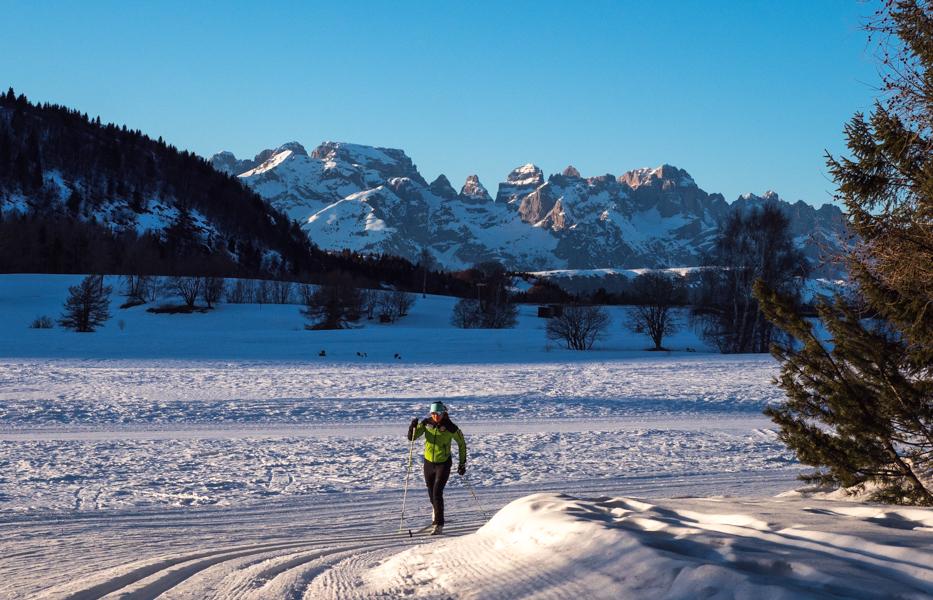 Langlaufen bij op hoogvlakte bij Monte Bondone © Claudia Zanin